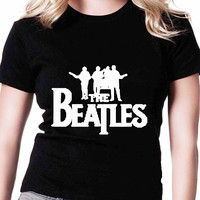 The Beatles Rock Band Whte TV Womens T Shirts Black And White