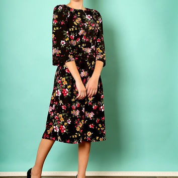 Black floral dress – Holiday dress - Modest midi dress for women