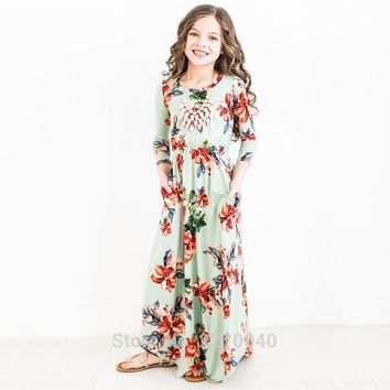 autumn kid clothes teenager girl maxi dress casual floral dress cotton long sleeve flower printed ball gown party dresses