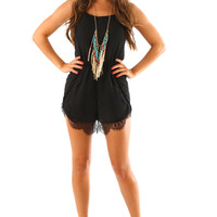 Fell In Love Romper: Black