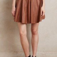 Matison Stone Vegan Leather Circle Skirt in Brown Size: