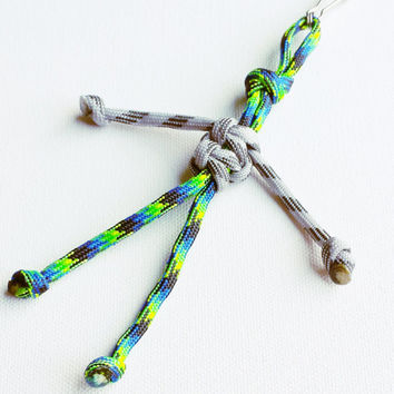 Paracord Keychain - 550 Paracord - Survival Keychains - Gray & Aquatica Keychain - Para-Bandit - Zipper Pull - Stocking Stuffers