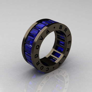 Mens Modern Avant Garde 14K Black Gold Blue Sapphire Channel Cluster Infinity Wedding Band R174-14BGBS