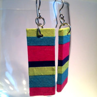 Colorful Striped Hanji Paper Earrings OOAK Dangle Earrings Patchwork Design Lime Blue Pink Handmade Hypoallergenic hooks Lightweight