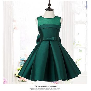 Green Satin Kids Party Dresses For Girls Wedding Dress Big Bow Girls Dresses Princess Costume Bridesmaid Clothes Birthday Gown