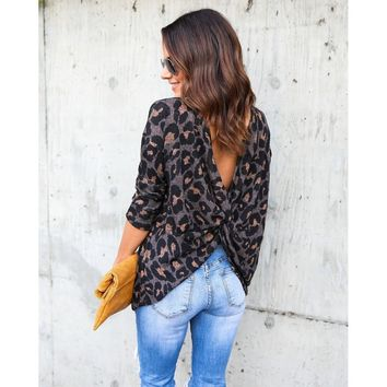 2018 T-shirt Cross Back Casual Slim Crop Top Leopard Print