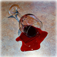 "Fake Spilled 7"" Glass of Burgundy Merlot Wine Photo Prop Staging"