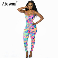 Rompers Womens Jumpsuit stretchy tropical floral print bodycon Jumpsuits and Rompers straps backless Overalls for women