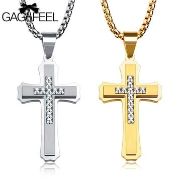 Gagafeel Brand Men's Engraved Antique Cross Stainless Steel Crystal Pendant Necklace