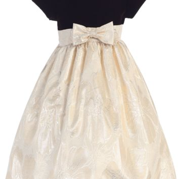 Girls Chocolate Velvet Bodice & Gold Jacquard Dress 3M-12