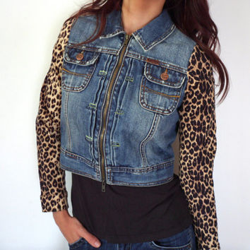 Animal Print & Denim Upcycled Ezra Fitch Cropped Jean Jacket With Leopard Sleeves
