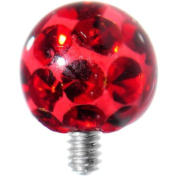 4mm Red Cubic Zirconia Sparkling Ferido Ball Dermal Top