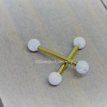 Opal nipple piercing jewelry rose gold titanium anodized straight barbells 14g pick your length