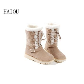 2016 new arrival woman winter snow boots waterproof boots australian fur fashion platform ankle boots for women shoes size34-43