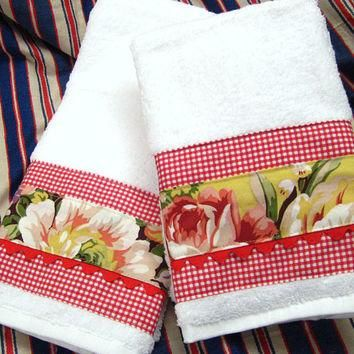 BROOKE FLORAL and Red Gingham - (1 Set) 2-Custom Decorated on White Hand Towels - Ral