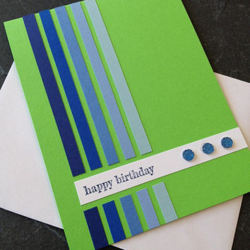 Handmade Birthday Greeting Card, Unisex - Great for Anybody, Boy or Girl, Man or Woman, Minimalist Design, Bright, Fun and Colorful Card
