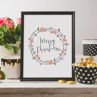 Wall artwork Winter Print Wreath Prin Watercolor Print Christmas Decor Digital Print Merry Christmas Print Christmas Print Holiday Print