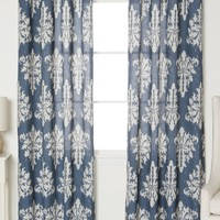 Linen Blend Medina Grommet Top Curtains - Set of 2 Panels - Navy
