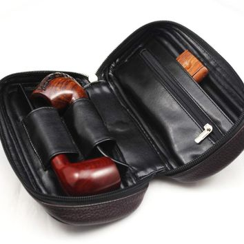 Vauen Soft PU Leather Bag Clutch for 2 Pipes Portable Wood Weed Tobacco Smoking Pipe Case/Pouch Smoking Tools Accessories Bag