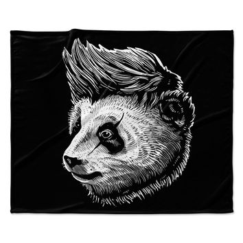 "BarmalisiRTB ""Funky Panda"" Black White Fleece Throw Blanket"