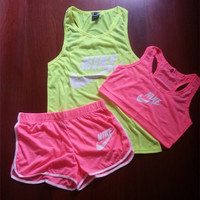"""NIKE"" Fashion Casual Letter Print Round Neck Sleeveless Vest Set Three-Piece Sportswear"
