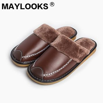 2017 PU Leather Warm Winter Home Slippers Non-Slip Thick Plush House Shoes Cotton Men Slippers M-8831