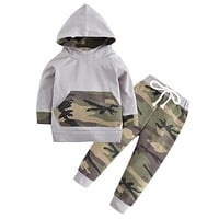 2PCS Kids Clothing Newborn Toddler Baby Boys Clothes Set Tops Hooded Warm + Long Pants Casual Hoodies Outfits Set Autumn Winter