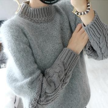 Women Sweaters and Pullovers 2017 Korean Casual Patchwork Long Sleeve Turtleneck Gray Sweater Faux Fur Knitwear pull femme T72