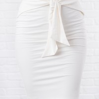 Business Trip Tie Front Skirt (White)