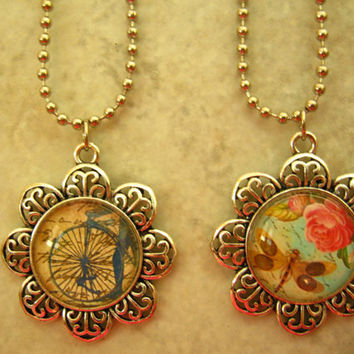 Handmade Glass Jewelry - Steampunk and Roses Dragonfly Pendants, Silver Pendants and Chains