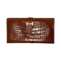 HERMES '04 Cognac Alligator Bearn H Wallet GHW