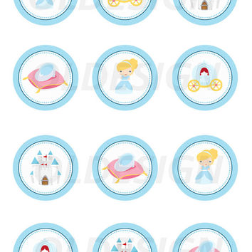 Cinderella Stickers, Cupcake Topper, Tags, great for birthday partys. 2 Inch Circles. Digital file