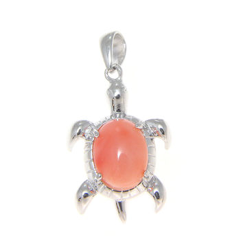 925 Silver Rhodium 7x9mm Oval Genuine Pink Coral Hawaiian Turtle Honu Pendant