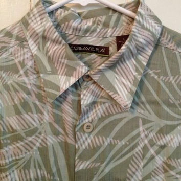 Cubavera Shirt L Mens Size Large Short Sleeve Rayon Green Tropical Hawaiian