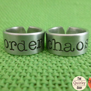 Personalized Hand Stamped Jewelry - order - chaos -  Matching Hand Stamped Adjustable Rings