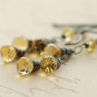 Sunshine Citrine Handmade Dangle Earrings | aubepine - Jewelry on ArtFire