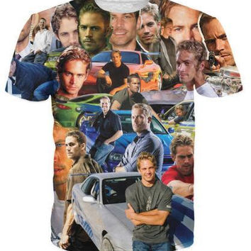 New Arrive Paul Walker Paparazzi T-Shirt The Fast and The Furious Wonderful Paul 3D Printed Hip Hop  Fashion T Shirt