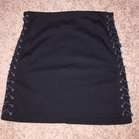 Forever 21 black mini skirt with lace up sides