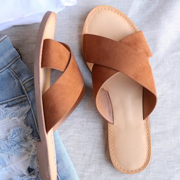 coco criss cross faux suede slip on flat sandals - tan