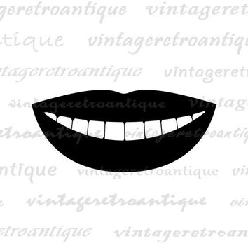 Printable Digital Smiling Mouth Graphic Smile Icon Download Image Antique Clip Art Jpg Png Eps  HQ 300dpi No.4393
