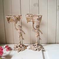 Antique Pink Vintage Cherub Grape Vine Brass Candle Holders, Ornate Pillar Candleholders, Angel Candle Holders, Shabby Chic Pink Decor