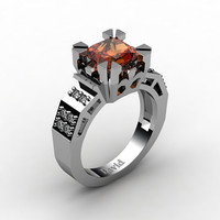Modern Vintage 14K White Gold 2.0 Carat Princess Orange Sapphire Diamond Solitaire Ring R1023-14KWGDOS