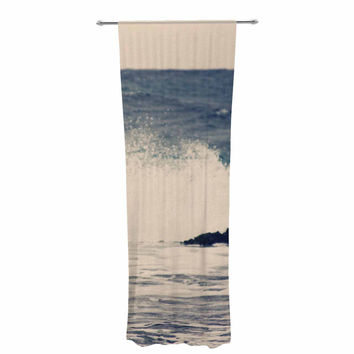 "Sylvia Coomes ""Crashing Waves 2 "" Blue Costal Decorative Sheer Curtain"