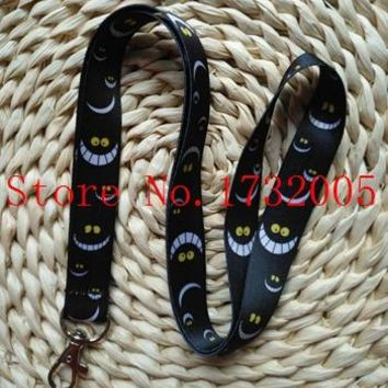 New 10 Pcs  Cartoon  Alice in Wonderland Cat Cello Phone key chain  Neck Strap Keys  Lanyards Free Shipping G-12