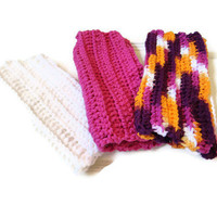 Washcloth Dishcloth Set of 3 Purple Orange White Pink