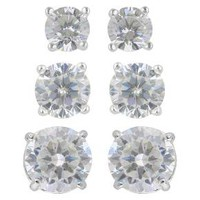 Women's Sterling Silver Stud Earrings Set of 3 Post Round Cubic Zirconia - Silver/Clear : Target