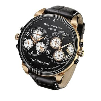 David Van Heim Dual Swiss Quartz Chronograph Men's Watch collection VH-42
