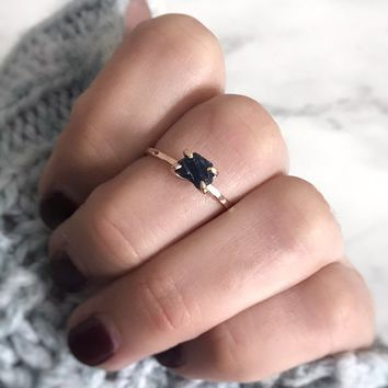 Sapphire Ring, 14K Rose Gold Engagement Ring, Blue Sapphire Ring