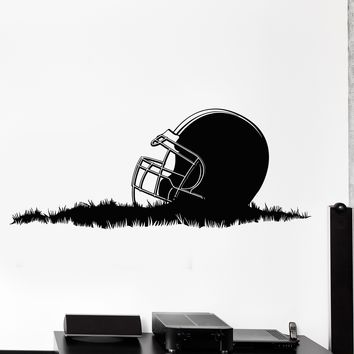 Wall Vinyl Decal Sport Football Helmet On Grass Home Interior Decor Unique Gift z4203