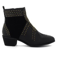 Stacked Heel Studded Ankle Bootie in Black